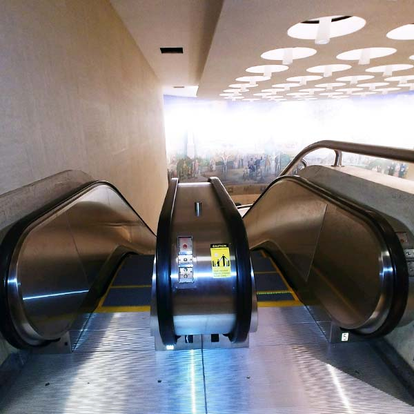 A finished view of the escalator looking down.