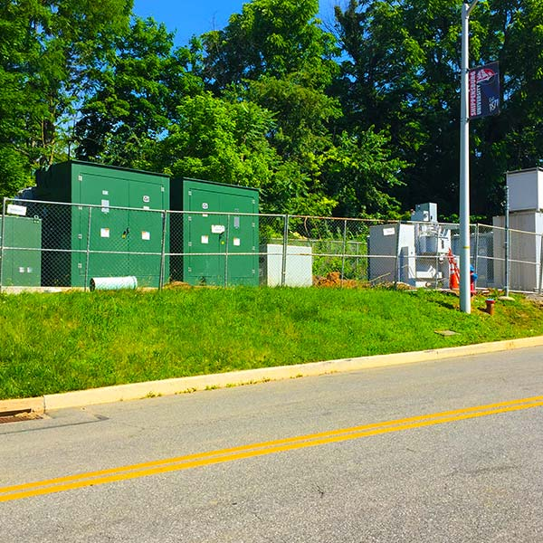 Green boxes contain the electrical distribution system at Shippensburg University.