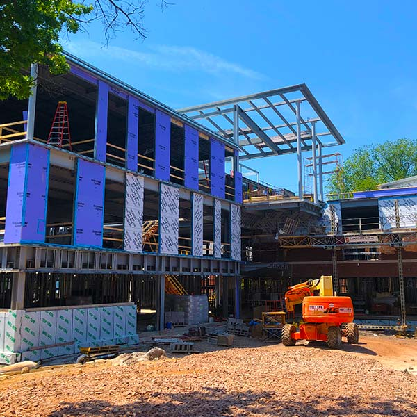 Blue exterior walls are shown for this new building.