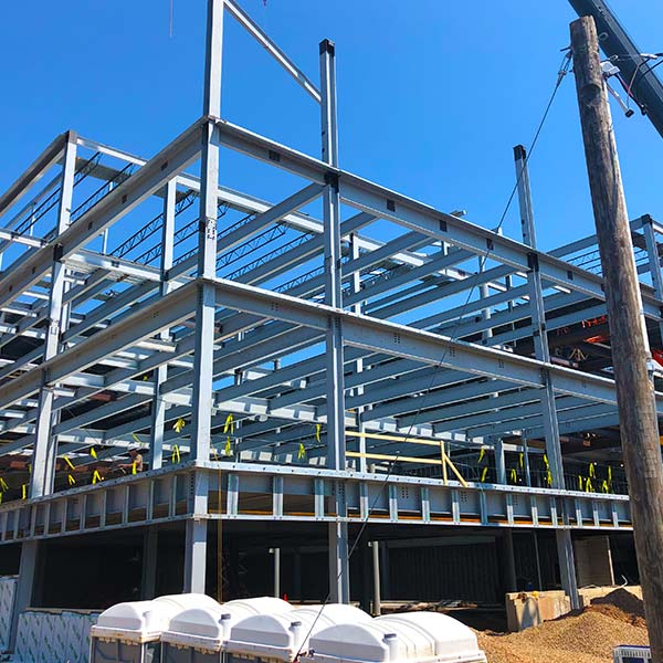 Steel is used to frame the Waller Admin building.